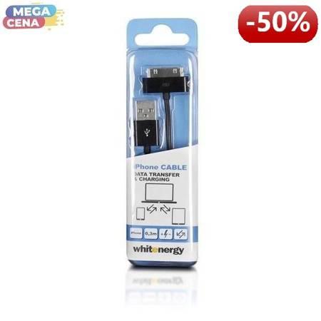 Whitenergy Kabel do przesyłu danych, iPhone 4, 30cm, czarny