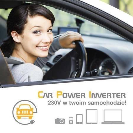 Whitenergy Przetwornica samochodowa 400/800W 24V(DC)- 230V(AC) z portem USB