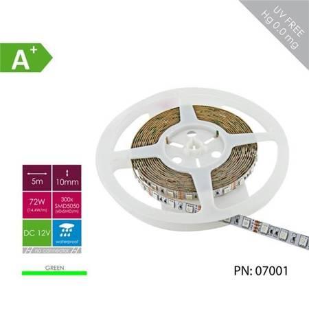 Whitenergy Taśma LED 5m 60szt/m SMD5050 14.4W/m 12V IP65 10mm zielona bez konektora