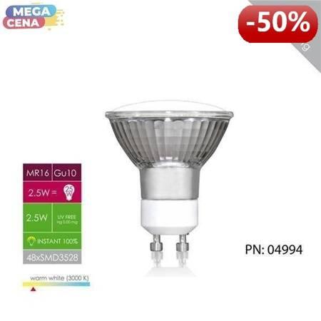 Whitenergy Żarówka LED 2.5W  GU10 MR16 SMD3528 ciepła 230V Halogen / bez szybki