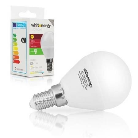 Whitenergy Żarówka LED 5W  E14 B45 400lm SMD2835 zimna 230V  Kulka / mleczne
