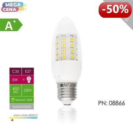 Whitenergy Żarówka LED 5W  E27 C35 SMD5050 ciepła 230V Świeczka / transparentne