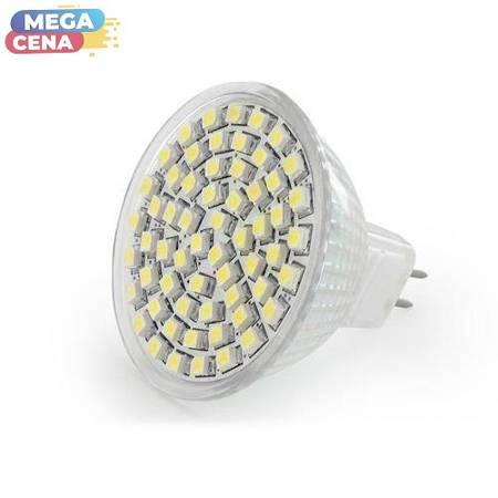 Whitenergy Żarówka LED|60xSMD3528|MR16|GU5.3|3.7W|12V|zimne białe|bez szybki
