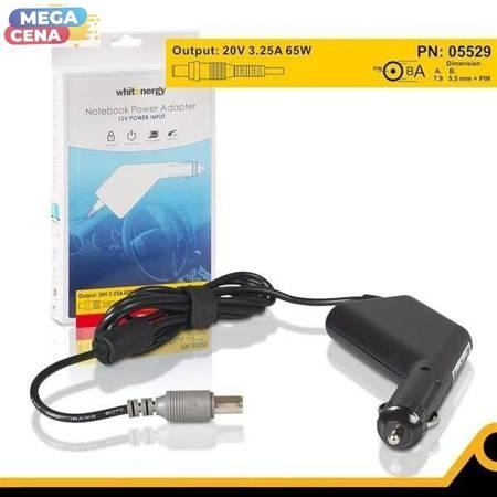 Whitenergy Zasilacz DC Ładowarka samochodowa do laptopa 20V 3.25A 65W 7.9x5.5 mm + pin