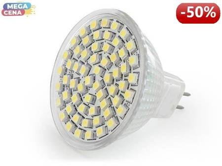 Whitenergy Źródło LED 60xSMD3528 MR16 GU5.3 3.8W 12V ciepłe białe bez szybki