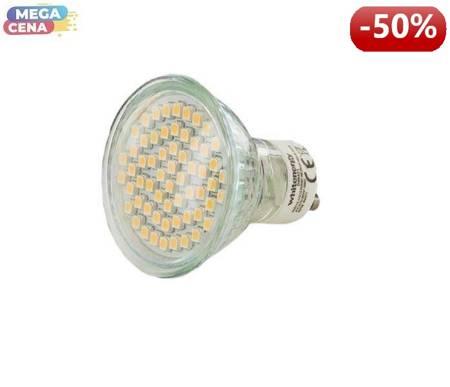 Żarówka LED 24xSMD5050, MR16, GU10, 3.3W, barwa zimna biała, z szybką
