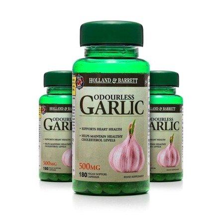 Zestaw 2+1 (Gratis) Bezzapachowy Czosnek 500 mg 180 Kapsułek Produkt Wegański