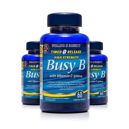 Zestaw 2+1 (Gratis) Witamina B Complex z Witaminą C 500 mg o przedłużonym uwalnianiu 60 Kapletek