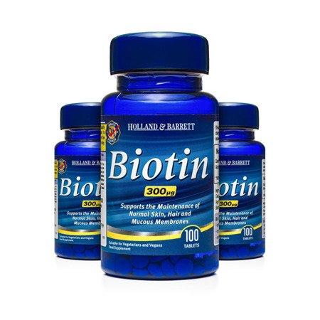 Zestaw Suplementów 2+1 (Gratis) Biotyna 300 ug 100 Tabletek