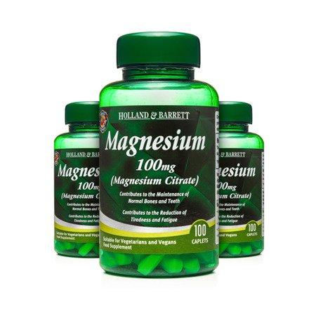 Zestaw Suplementów 2+1 (Gratis) Cytrynian Magnezu 100 mg 100 Kapletek