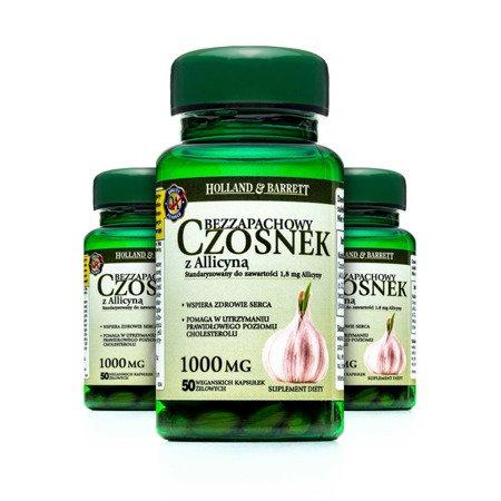 Zestaw Suplementów 2+1 (Gratis) Produkt Wegański Bezzapachowy Czosnek z Alicyną 1000mg 50 Kapsułek