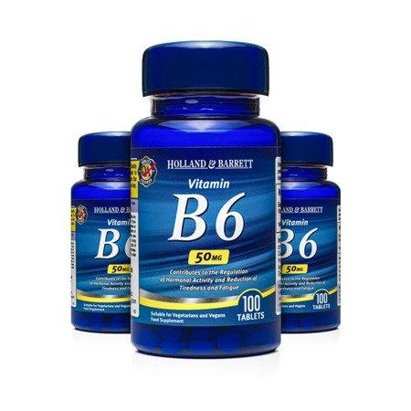 Zestaw Witamin 2+1 (Gratis) Witamina B6 50 mg 100 Tabletek