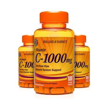 Zestaw Witamin 2+1 (Gratis) Witamina C 1000 mg z Dziką Różą 100 Kapletek