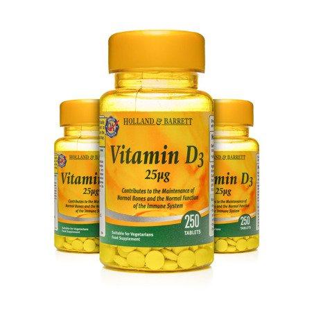Zestaw Witamin 2+1 (Gratis) Witamina D3 25 ug 250 Tabletek